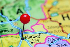 Maribor pinned on a map of Slovenia - stock photo