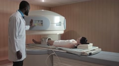 Finish mri scanning of knee joint Stock Footage