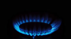 Gas Stove Burner Lighting Close Up Center Above Stock Footage