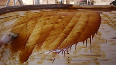Construction of boats at the shipyard, the coating resin - stock footage