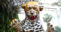 Jaguar statue. Chapada dos Guimaraes, Mato Grosso, Brazil.  Stock Footage