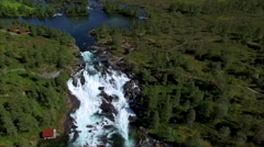 Scenic aerial view of Likholefossen waterfall in Norway Stock Footage