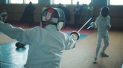 Competition of Fencers - stock footage