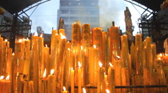 Giant candles burning, HD 1920 x 1080 format. - stock footage