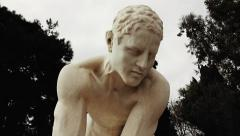 Classical greek sculpture/statue,crane tracking shot ,Panathenaic stadium Stock Footage