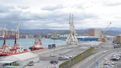 KOPER-CAPODISTRIA, SLOVENIA: Panoramic view on the sea port Stock Footage