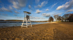 Lake shore with lifeguard hut on beach. Stock Footage