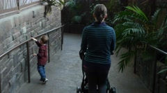 Little boy and mother walking through zoo building Stock Footage