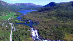 Aerial view of Likholefossen waterfall in Norway Stock Footage