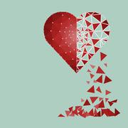 Low polygonal of red heart that crushed to a pieces in a half fall to floor - stock illustration