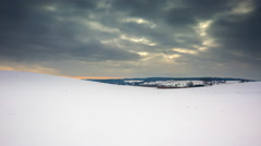 4k timelapse of empty snow field at winter Stock Footage