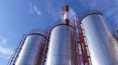 Heating plant with chimney smoke Stock Footage