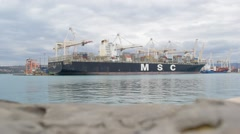 PORT LUKA KOPER, KOPER, SLOVENIA: Conainers ship MSC unload containers Maersk Stock Footage