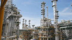 Refinery tower in process area of oil refinery industrial plant Stock Footage
