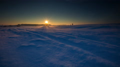 4k timelapse of beautiful winter field at sunrise Stock Footage