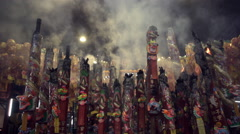 Giant incense sticks burning Stock Footage