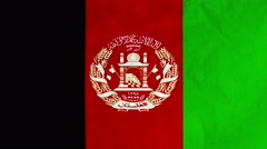 Afghan flag waving in the wind (full frame footage) Stock Footage
