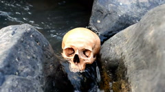 Human skull in streamlet Stock Footage