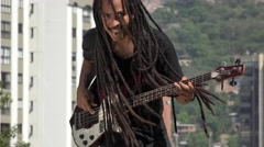 African Guitarist With Dreadlocks Stock Footage