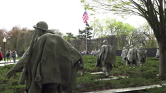 Washington DC Korean War Veterans Memorial flag HD Stock Footage