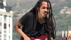 African Reggea Guitarist With Dreadlocks Stock Footage