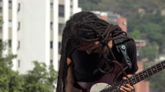 African Male Reggea Guitarist With Dreadlocks Stock Footage