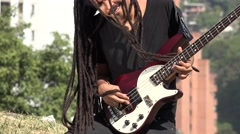 African Male Bass Guitarist With Dreadlocks Stock Footage