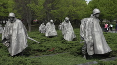 Washington DC Korean War Veterans Memorial soldiers tourists HD Stock Footage