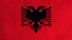 Albanian flag waving in the wind (full frame footage) Stock Footage