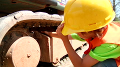 Little Boy Playing On Construction Equipment - stock footage