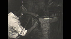 Vintage 16mm film, 1957, France, concrete making forms lift Stock Footage