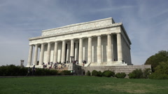 Washington DC Lincoln Memorial front corner steps lawn view HD Stock Footage