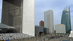 People that moving on La Defense, Paris, France - stock footage