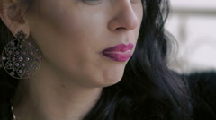 Close up of friable pink woman's lips inflating bubbles. Slowly Stock Footage