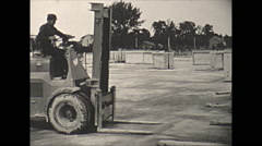 Vintage 16mm film, 1957, France, concrete making forms forklift #3 Stock Footage