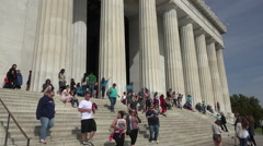 Washington DC Lincoln Memorial front steps tourists fast HD Stock Footage