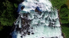 Aerial view of river rapids on Norwegian river Stock Footage
