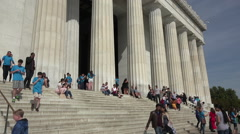 Washington DC Lincoln Memorial front steps tourists HD Stock Footage