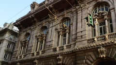 Building of stock exchange in Genoa, Italia Stock Footage