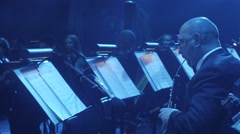 The Greatest Hits by Rock Symphony Playing Oboe Musiciants Are Playing Wind Stock Footage