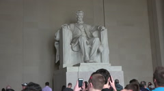 Washington DC Lincoln Memorial inside tourists fast HD Stock Footage