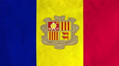 Andorran flag waving in the wind (full frame footage) Stock Footage