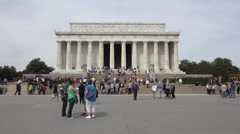 Washington DC Lincoln Memorial tourist crowd entrance HD Stock Footage