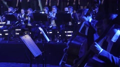The Greatest Hits by Rock Symphony Double Bass and Wind Instruments Musicians Stock Footage