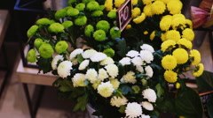 Counter in a flower shop Stock Footage