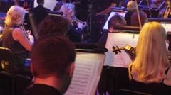 Rock Symphony Concert Ukrainian Tour Kiev Conductor Nikolai Lysenko Violinists Stock Footage
