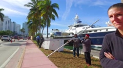 Setup for the boat show Stock Footage