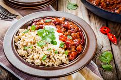 Stock Photo of Homemade chili with beans and wild rice