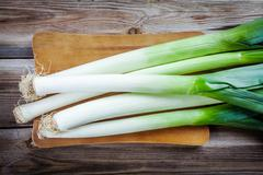 Fresh raw organic leek - stock photo