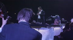 Rock Symphony The Greatest Hits Conducting Orchestra Musicians Are Playing Stock Footage